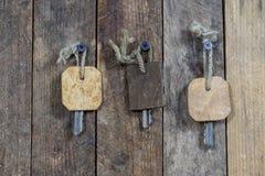 Llaves a la puerta principal de la casa Diversos accesorios necesarios Fotografía de archivo