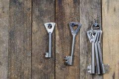 Llaves a la puerta principal de la casa Diversos accesorios necesarios Foto de archivo libre de regalías
