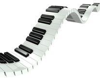 llaves onduladas del piano 3d Fotos de archivo libres de regalías