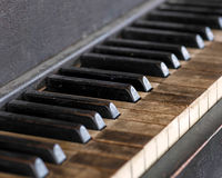 Llaves sucias del piano Fotografía de archivo