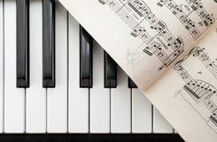 Llaves y partitura del piano desde arriba imagenes de archivo