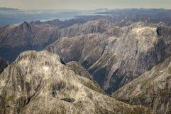 Llawrenny-Spitzen bei Milford Sound, Neuseeland stockfotos