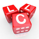 LLC Letters 3 Red Dice Gamble Bet New Business Venture Entrepren. Roll the dice on an LLC - limited liability corporation by setting up your new business as an Stock Image