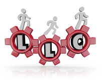 LLC Limited Liability Corporation Acronym People Walking Gears. LLC Limited Liability Corporation letters in red gears to illustrate managing an effective Stock Photography