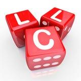 LLC listów 3 kostka do gry Czerwony hazard Zakłada się Nowego przedsięwzięcie gospodarcze Entrepren Obraz Stock