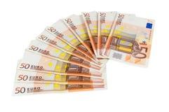 Lle banconote dell'euro 50 Fotografie Stock