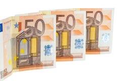 Lle banconote dell'euro 50 Fotografia Stock Libera da Diritti