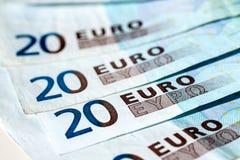Lle banconote dell'euro venti Fotografia Stock