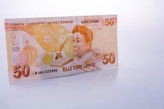 Lle banconote della Lira di Turksh di 50 su fondo bianco Fotografia Stock