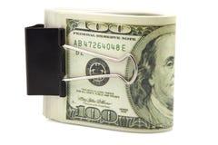 Lle banconote di cento dollari Fotografia Stock