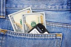 Lle banconote di cento dollari americani Fotografia Stock Libera da Diritti