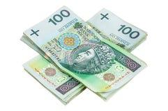Lle banconote polacche di 100 PLN Immagini Stock