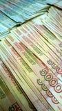 Lle banconote russe di mille e cinque mila rubli Cinque mila nella priorità alta fotografia stock