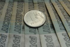 Lle banconote russe di 50 rubli Fotografie Stock