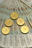 Lle banconote russe di 50 rubli Soldi russi Fotografia Stock Libera da Diritti