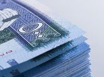 Lle banconote saudite del riyal di 500 alti vicini del extreem Immagine Stock