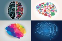 Lle collezioni di quattro cervelli umani differenti, lato destro e sinistro illustrazione vettoriale
