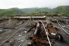 Lle conseguenze del monte Merapi 2010 Volcano Eruption - l'Indonesia immagini stock