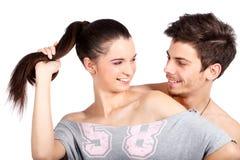 Lle coppie felici di due uomo e donna attraenti Fotografia Stock Libera da Diritti