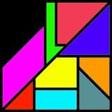 Lle forme geometriche variopinte, ultraviolette, porpora, rosa, gialle astratte Fotografia Stock