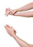 Lle mani di due persone che danno applauso Fotografie Stock