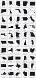 Lle mappe nere della siluetta di 50 stati USA illustrazione di stock