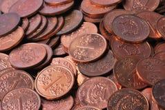 Lle monete da un centesimo Fotografia Stock
