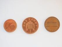 Lle monete da un centesimo Fotografia Stock Libera da Diritti
