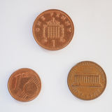 Lle monete da un centesimo Immagini Stock