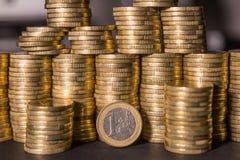 Lle monete da un euro Fotografia Stock Libera da Diritti