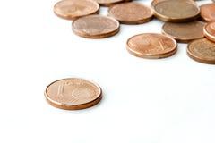 Lle monete da un euro del centesimo Fotografia Stock Libera da Diritti