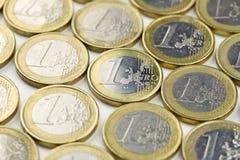 Lle monete dall'un euro Fotografia Stock