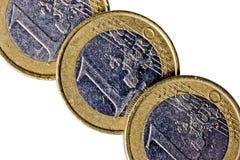 Lle monete dall'un euro Fotografia Stock Libera da Diritti