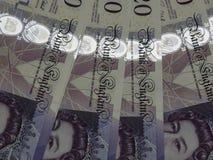 Lle note da 20 libbre, Regno Unito a Londra Immagini Stock