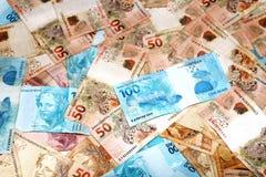 Lle note di 100 e 50 reais dal Brasile Fotografia Stock Libera da Diritti