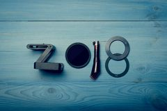 Lle nuove cifre da 2018 anni fotografia stock libera da diritti