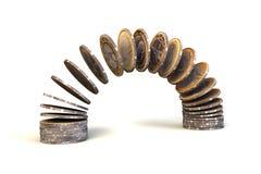 Lle pile dall'un euro Immagini Stock Libere da Diritti