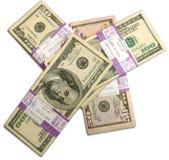 Lle pile di 50 e 100 fatture dell'americano del dollaro Fotografia Stock