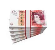 Lle pile di banconote da 50 libbre Fotografie Stock Libere da Diritti
