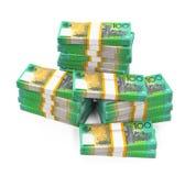 Lle pile di 100 banconote del dollaro australiano Fotografia Stock
