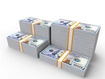 Lle pile di 100 banconote in dollari Fotografia Stock Libera da Diritti