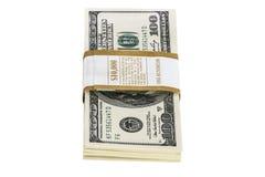 Lle pile di 100 banconote in dollari isolate su bianco Immagine Stock