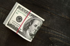 Lle pile di cento dollari di banconote Immagini Stock Libere da Diritti