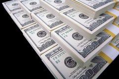 Lle pile di cento fatture del dollaro Fotografia Stock Libera da Diritti