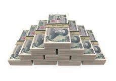 Lle pile di 1000 giapponesi Yen Isolated Immagini Stock
