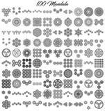 Lle varie collezioni della mandala di 100 insiemi illustrazione di stock