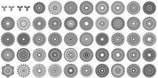 Lle varie collezioni della mandala di 50 insiemi illustrazione di stock