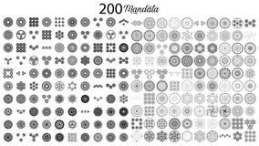 Lle varie collezioni della mandala di 100 insiemi royalty illustrazione gratis