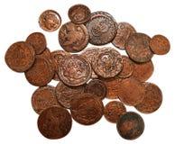 Lle vecchie monete bronzee XIX del secolo isolate Immagini Stock Libere da Diritti
