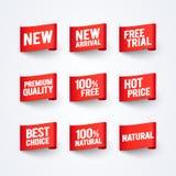 Llegada del ejemplo del vector nueva, el 100% libre, calidad natural, superior, el mejor sistema de la bandera de la etiqueta de  Foto de archivo libre de regalías
